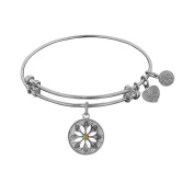 Angelica Collection White Brass with Enamel Daisey Flower Bangle Bracelet
