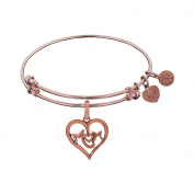 "Angelica Brass ""M-Heart-M"" Adjustable Bangle Bracelet - 18cm"