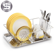 Tatkraft CLASS Stainless Steel Dish Drainer with Tray and Cutlery Holder, 15,3X11,4 H4,18cm