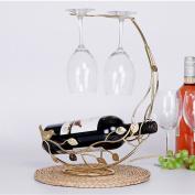 LC European Wine Rack / Wine Glass Holder Hanging Furniture Supplies Bar 1 Bottle +2 Cups