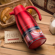 Stainless steel solid-colour thermos pot Large-capacity household insulation Hot water vacuum flask The kettle Heat preservation open kettle 2L-A 13x19.6x30.5cm