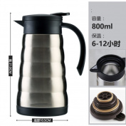European simple Vacuum flask Solid colour Stainless steel insulated pot Vacuum flask,Large capacity coffee pot Home heating kettle Thermos Thermos flask,Leak-proof hot kettle Hot water bottle-A