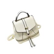 Yiliay Korea Style Retro Rucksack PU Leather Backpack School Crossbody Shoulder Bag-White