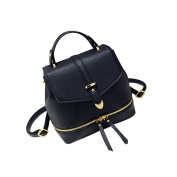 Yiliay Korea Style Retro Rucksack PU Leather Backpack School Crossbody Shoulder Bag-Black