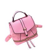 Yiliay Korea Style Retro Rucksack PU Leather Backpack School Crossbody Shoulder Bag-Pink