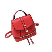Yiliay Korea Style Retro Rucksack PU Leather Backpack School Crossbody Shoulder Bag-Red