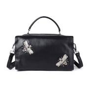 Real Genuine Leather Handbags for Women Black Fashion Rivet Bags Trendy Designer Zip Purse One Shoulder Ladies Bag