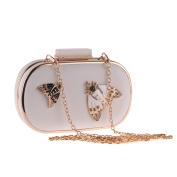 GSHGA Bow Evening Bag Clutch Bag Hot Selling Crossbody Shoulder Bags Messenger Bag,White