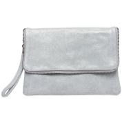CASPAR TL769 Ladies Suede Envelope Clutch Evening Bag with Zip and Wrist Strap