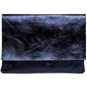CASPAR TL770 Large Ladies Leather Envelope Clutch / Metallic Evening Bag with Shoulder Strap