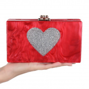 GSHGA New Red Acrylic Clutch Bag Ladies Evening Bags Wedding Handbag Purse For Party Clubs