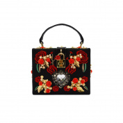 GSHGA New Clutch Bag Fashion Elegant Retro Small Square Bag PU Handbag Purse