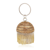 Flada Clutch Bags for Women Ball Shape Evening Bags for Wedding Rhinestones Wallet with Tassels Gold