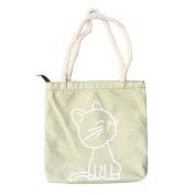 Lilyeyes Fashion Women Canvas Cat Letter Pattern Crossbody Shoulder Bucket Bag Handbags
