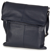 Shoulder bag - Messenger Bag made of soft Italian leather (30 x 32 x 2 cm), Colour:Blue