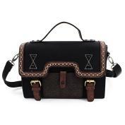 E-Bestar Women's Vintage PU Leather Briefcase Satchel Retro Messenger Crossbody Bag