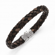 Stainless Steel Polished Brown Woven Leather Bracelet