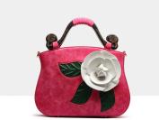GSHGA New Three-dimensional Handbag Big Flowers Bridal Bag Portable Messenger Shoulder Bag Ethnic Style Retro,Magenta
