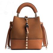 Packages packages female quarter bucket bag female Korean version of the frosted single shoulder bag diagonal package retro package-su handbag girl, Brown