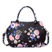 Miss Lulu Structured Matte Oilcloth Shoulder Tote Bag Flower Print Pattern Handbag