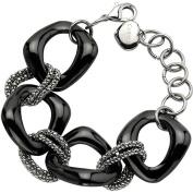 Primal Steel Stainless Steel Black Ceramic Link Bracelet