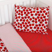 mayabee Toddler Ladybug Red Bedding Boys Girls Cot Bed/ Junior Bed Duvet Cover and Pillowcase Set Toddler 90*135cm