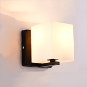 Nordic wooden wall lamp E27 screw iron lamp cover glass lamp shade living room bedroom bedside lamp balcony aisle bar bar wall lamp interior lamp modern simple and creative A+
