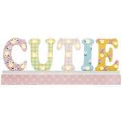 LED Cutie Sign for Nursery or Child's Bedroom Pretty pastel coloured Cutie sign 22 LED white bulbs in the letters of Cutie Measures 49cm wide x 18cm high x 5cm deep Requires 2 x AA batt