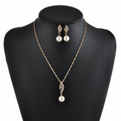Smile YKK Bridal Rhinestone Pearl Wedding Banquet Necklace Earrings Jewellery Set