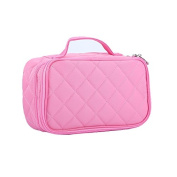 Makeup Brush Bag,HOYOFO Cosmetic Bag Pouch Double Layer Cosmetic Brush Organiser with Mirror and Carry Handle for Travel & Home for Women,Pink