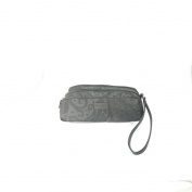 Etro Cosmetic Bag with Double Side Zip and Strap, Black