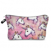 Gemini_mall® Unicorn Printed Makeup Brush Bag Key Bag Coin Purse Pencil Case Pen Bag Pouch with Zipper Funny Gifts