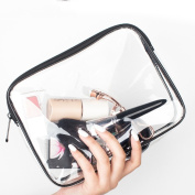 Cosmetic bag Portable Travel Folding Make up Toiletry Bags with Hook Organiser Bags Cosmetic Bags Multifunctional Canvas Pen Bag Pencil Case Makeup Tool Bag Storage Pouch Purse(Transparent)
