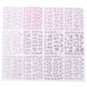 Domybest 24 Sheets Fashion Rose Flower Nail Art Stickers Decal 3D DIY Nail Tip Decor
