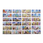 Domybest 12Patterns Water Decals Nail Art Transfer Stickers Big Sheet Manicure Decor