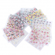 Domybest 30pcs Cute 3D Colourful Flower Leaf Pattern Nail Art Stickers Manicure Decor