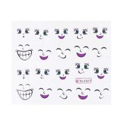 Domybest 5pcs Fashion Cute Smile Pattern Water Transfer Printing Nail Art Stickers