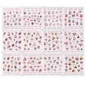 Domybest 12 Design Xmas Water Transfer Tip Nail Art Sticker Santa Claus DIY Manicure