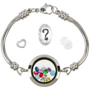Floating Locket Charm Bracelets For Women, Stainless Steel Snake Chain, Fits Pandora Charms, Magnetic, 25mm, 7.5 Inch