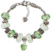 HONESTY CHARM BRACELET for Women & Girls, Steel Rope Chain and Peridot Green Hearts and Flowers August Birthstone Charms, 19cm