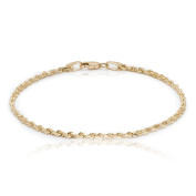 10k Yellow Gold Solid Diamond Cut Rope Chain Bracelet and Anklet for Men & Women, 2.25mm
