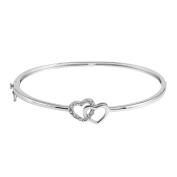 JewelExclusive Sterling Silver 1/10cttw Natural Round-Cut Diamond (J-K Colour, I2-I3 Clarity) Double Heart Bangle Bracelet