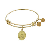 Angelica Collection Non-Antique Yellow Brass Initial K Letter Bangle Bracelet
