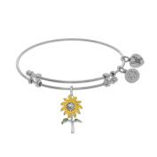 Angelica White Rhodium Over Brass 18cm Sunflower Bangle Bracelet