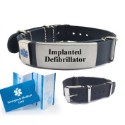 """IMPLANTED DEFIBRILLATOR"" Top Grain Leather Nato Style Medical Alert ID Bracelet. Choose Colour!"