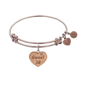 Angelica Collection Pink Brass Sweet 16 Birthday Bangle Bracelet