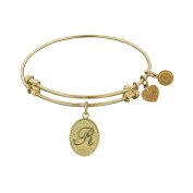 Angelica Collection Non-Antique Yellow Brass Initial R Letter Bangle Bracelet