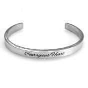 Women's Note To Self Inspirational Lead-Free Pewter Cuff Bracelet - Courageous Heart