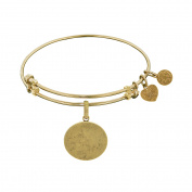 Angelica Collection Yellow Brass Oval Engravable Charm Bangle Bracelet