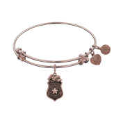 Angelica Collection Pink Brass Police Officer Charm Bangle Bracelet